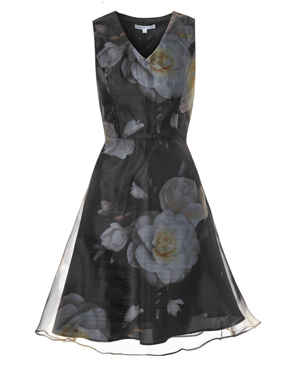 Black Floral Poly Dress, Black, hi-res
