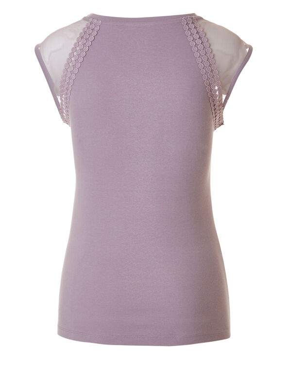 Light Mauve Cotton Mesh Tee, Light Mauve, hi-res