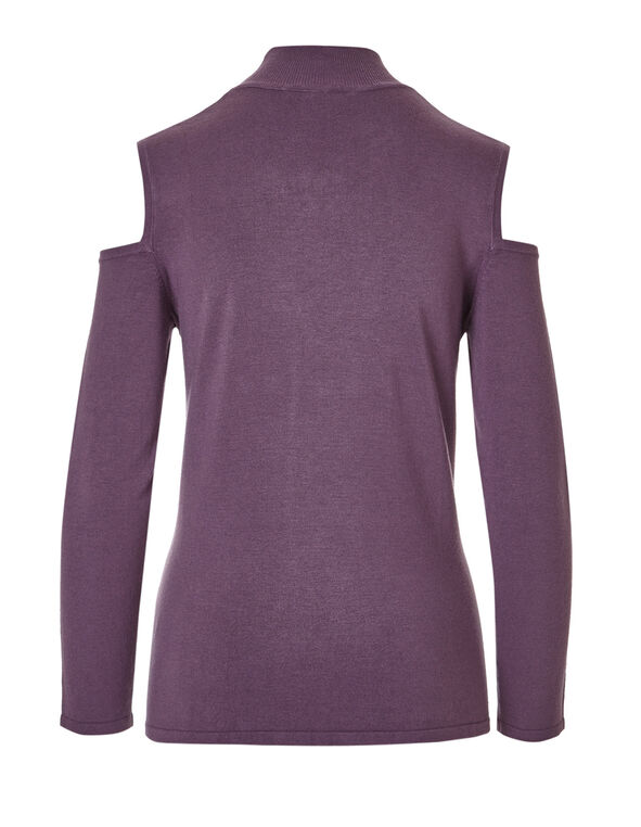 Tangled Plum Cold Shoulder Sweater, Tangled Plum, hi-res