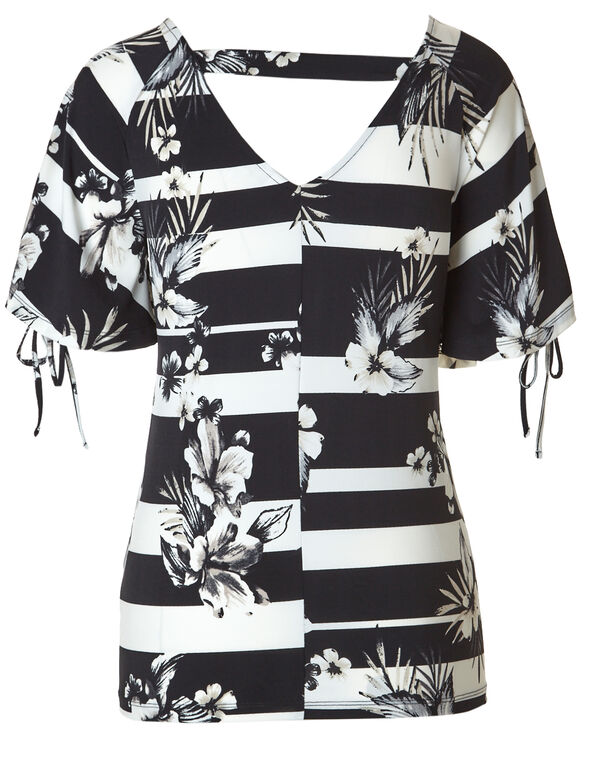 Black Printed Tie Sleeve Top, Black/White, hi-res