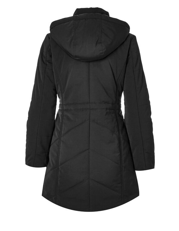 Black Long Polyfill Coat, Black, hi-res