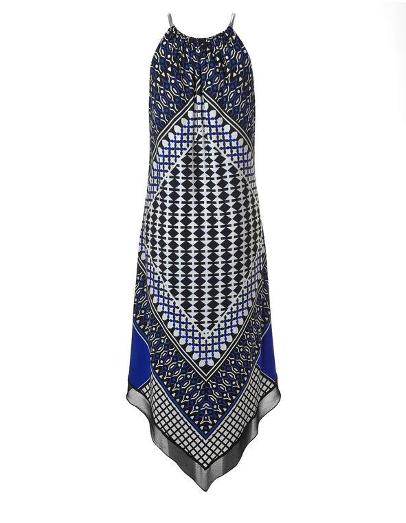 Printed Handkerchief Hem Maxi Dress, Black/White/Cobalt, hi-res