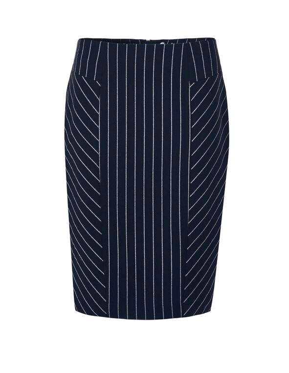 Navy Pinstripe Pencil Skirt, Navy/Ivory, hi-res