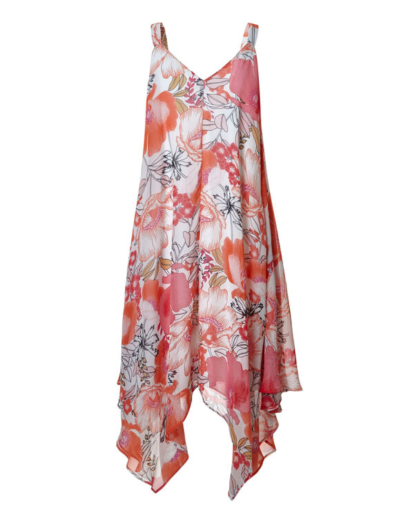Chiffon Coral Floral A-Line Dress, Coral/Pink, hi-res