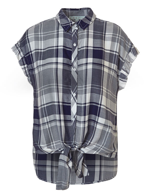 Plaid Button Up Tie Blouse, Blue Plaid, hi-res