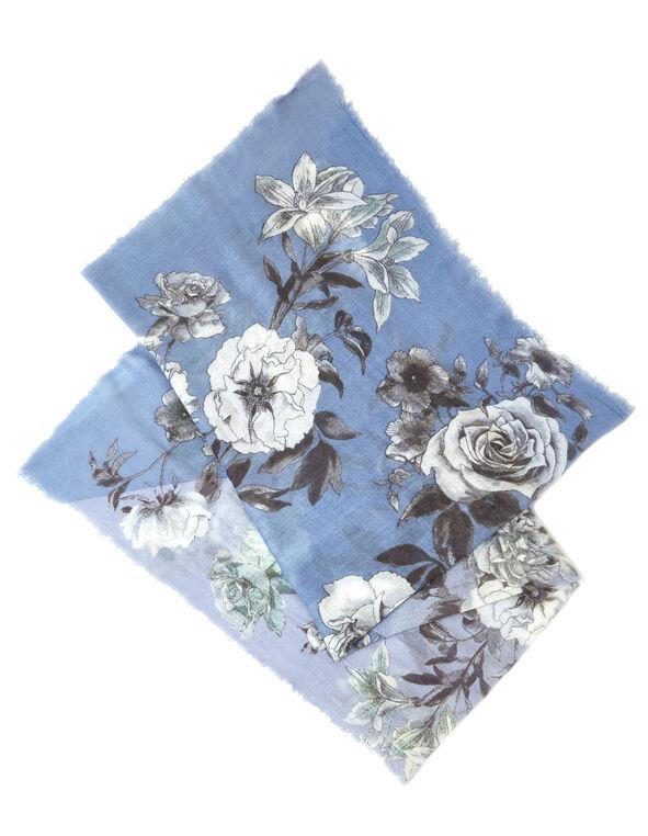 Blue Bouquet Floral Scarf, Light Blue, hi-res
