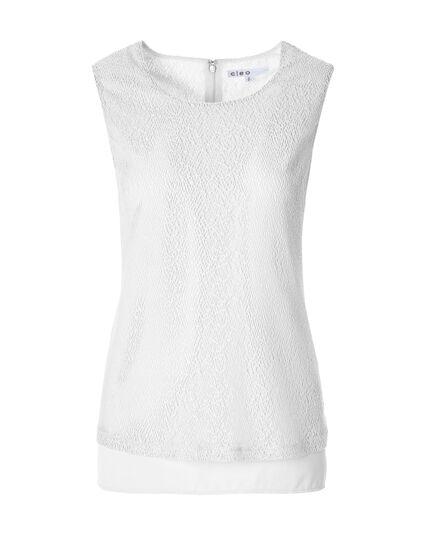 White Lace Sleeveless Top, White, hi-res
