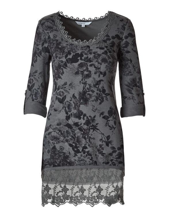 Grey Printed Hacchi Tunic Top, Grey, hi-res