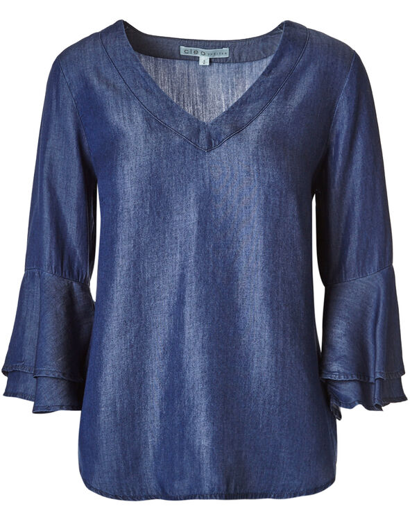 Denim Tencel Ruffle Blouse, Denim, hi-res