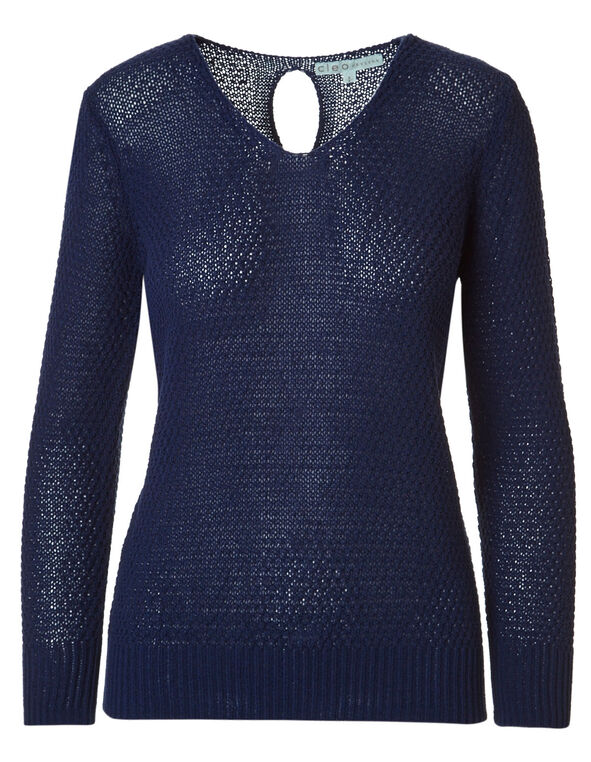 Ink Blue Cable Stitch Sweater, Ink Blue, hi-res