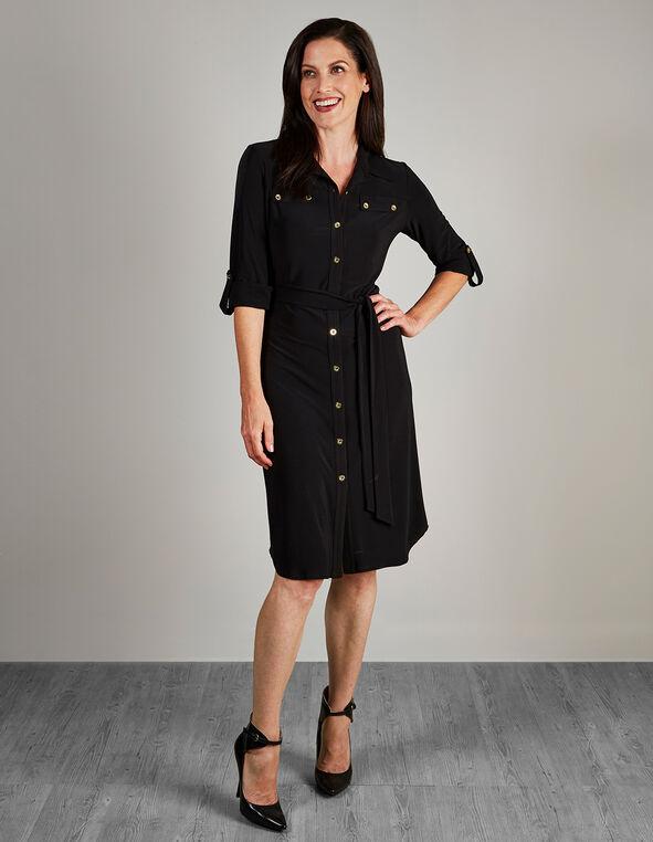 Black Shirt Dress, Black, hi-res