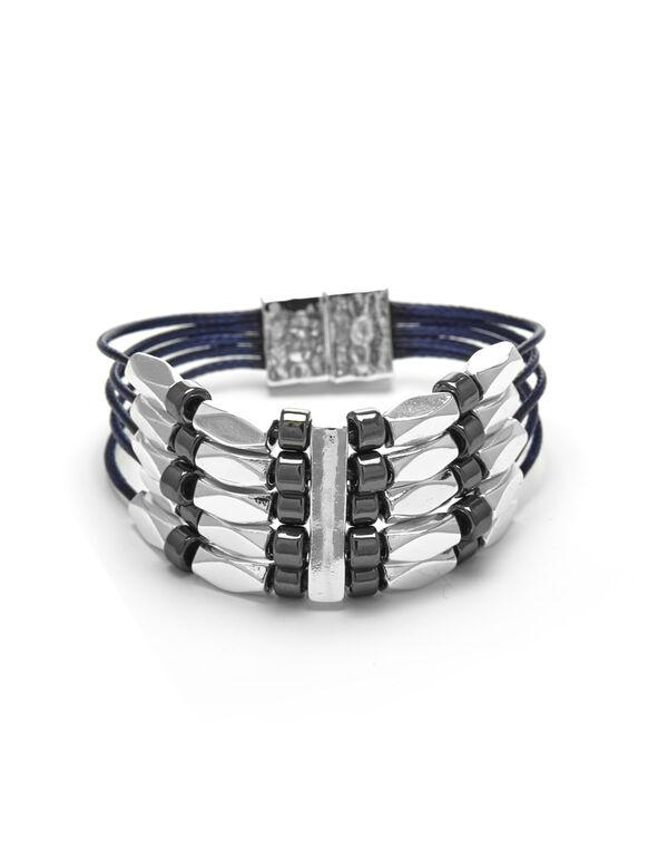 Blue Cord Magnetic Bracelet, Blue, hi-res