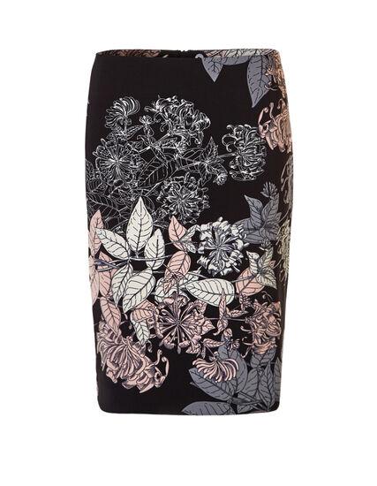 Floral Print Pencil Skirt, Black/Soft Pink/Ivory, hi-res