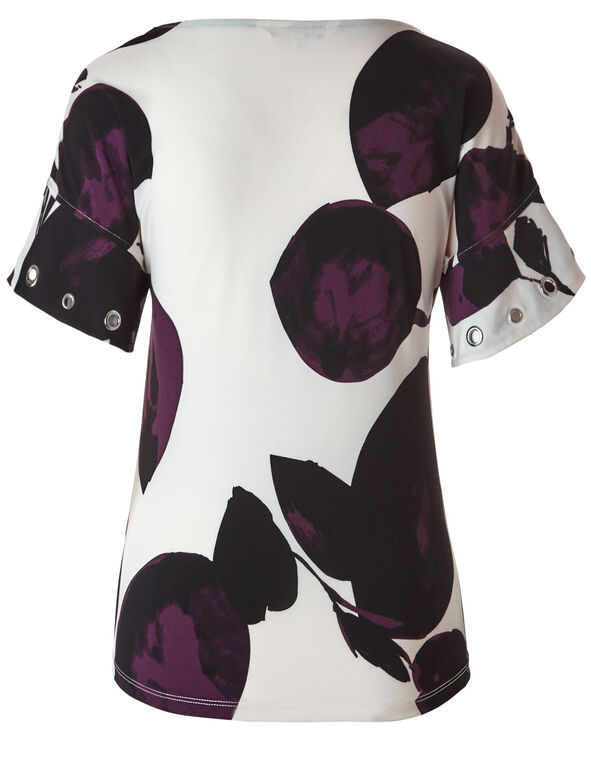 Ivory Patterned Grommet Sleeve Top, Ivory/Purple, hi-res