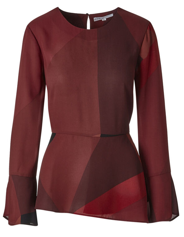 Red Peplum Bell Cuff Blouse, Red, hi-res