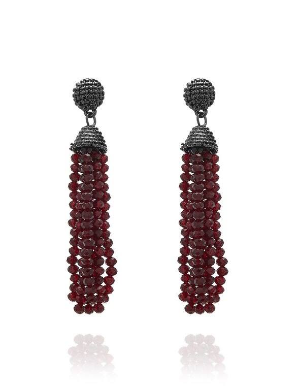 Dark Red Beaded Tassel Earring, Red, hi-res