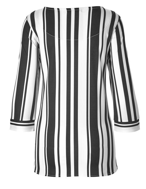 White Striped Hi-Lo Top, White/Black, hi-res