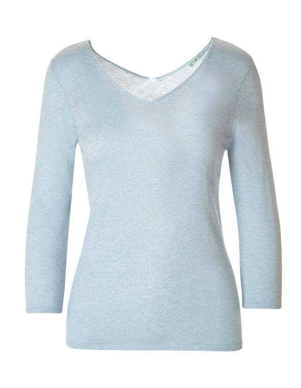 Soft Blue Double V-Neck Sweater, Soft Blue, hi-res