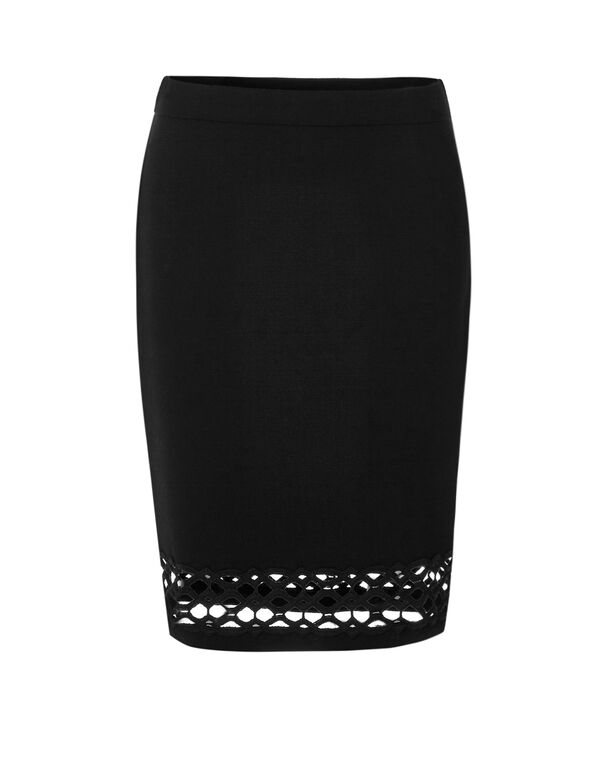 Black Lace Hem Pencil Skirt, Black, hi-res
