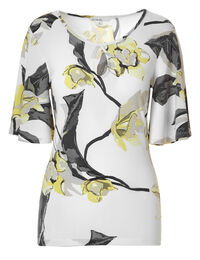Yellow Floral Bell Sleeve Top