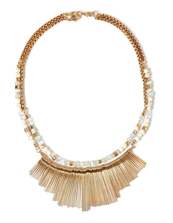 Ivory Marbleized Beaded Necklace, Ivory, hi-res