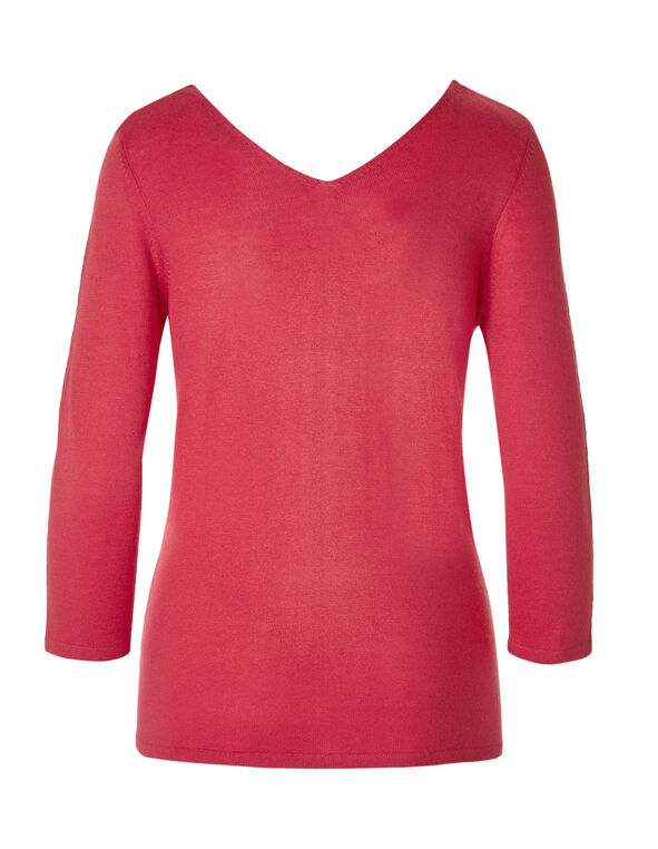 Fresh Pink Double V-Neck Sweater, Fresh Pink, hi-res