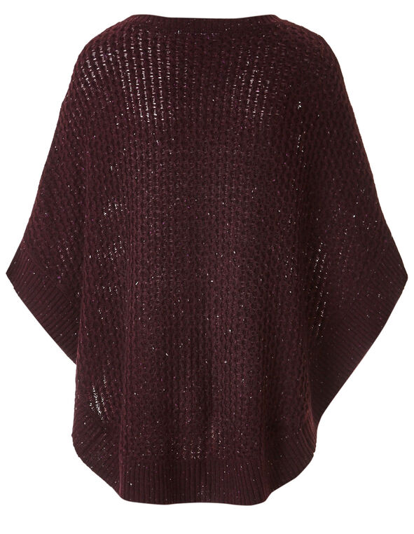 Burgundy Novelty Stitch Poncho, Burgundy, hi-res