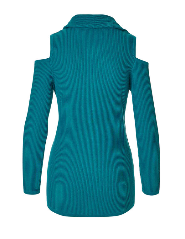 Turquoise Cold Shoulder Sweater, Bright Turqouise, hi-res