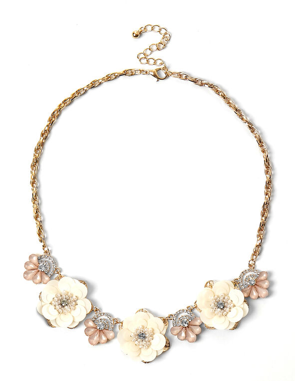 Fabric Floral Statement Necklace, Pink, hi-res