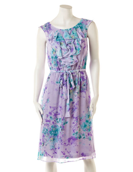Lilac Ruffle Front Dress with Belt, Lilac/Violet/Green, hi-res