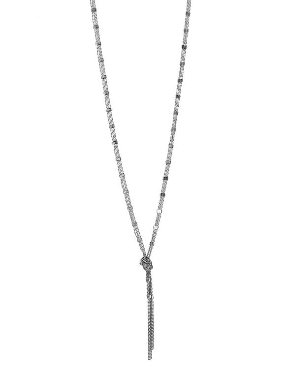Silver Bead Knot Tassel Necklace, Silver, hi-res