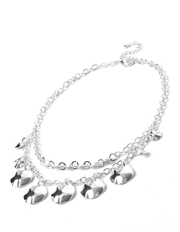 Silver Double Disk Necklace, Silver, hi-res