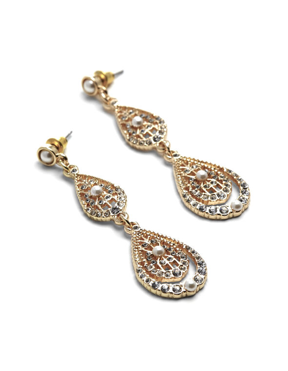 Gold Double Teardrop Earring, Gold, hi-res