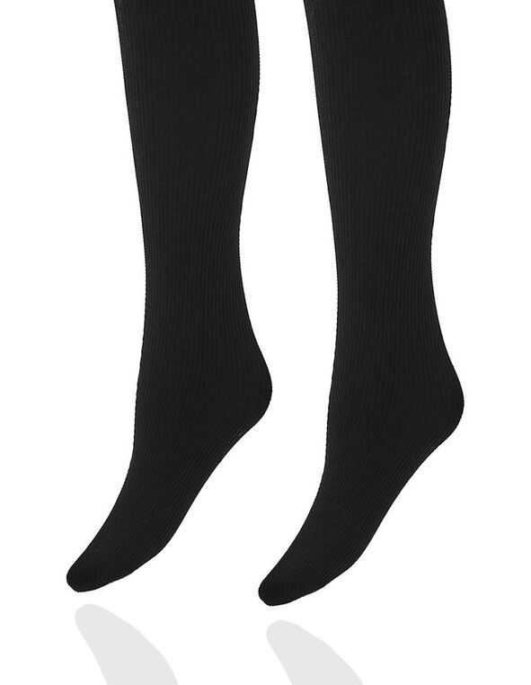 Black Rib Patterned Tight, Black, hi-res