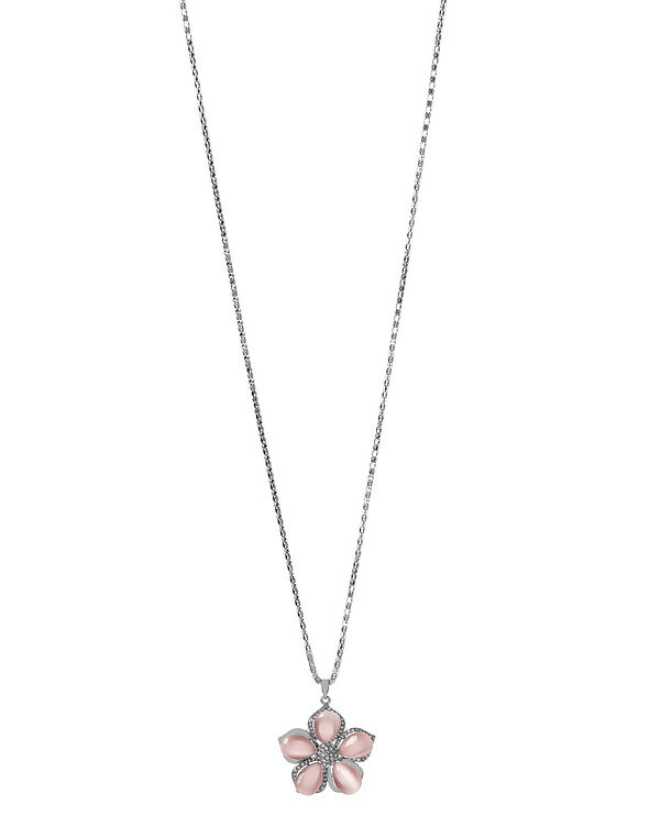 Pink Flower Adjustable Necklace, Pink, hi-res
