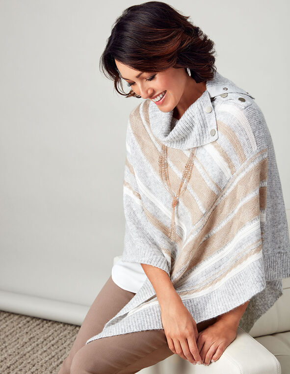Light Grey Mix Poncho, Light Grey Mix, hi-res