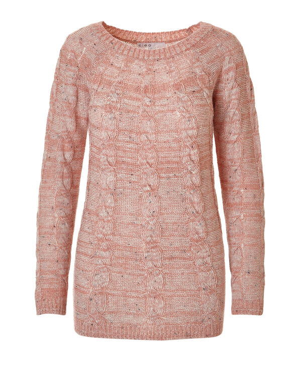 Pink Cable Knit Pullover Sweater, Rose Pink, hi-res