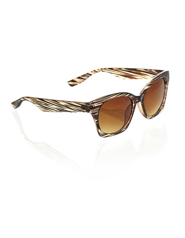 Brown Stripe Cat Eye Sunglasses, Brown, hi-res