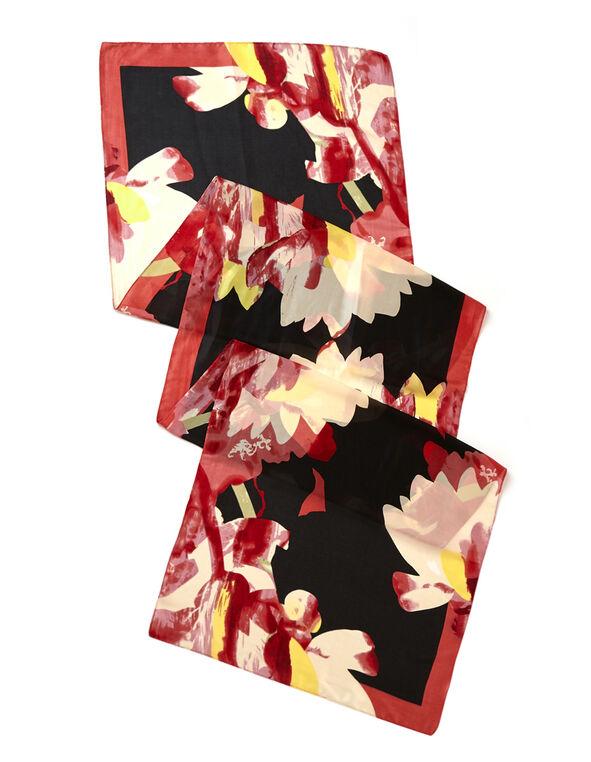 Red Floral Oblong Scarf, Red, hi-res