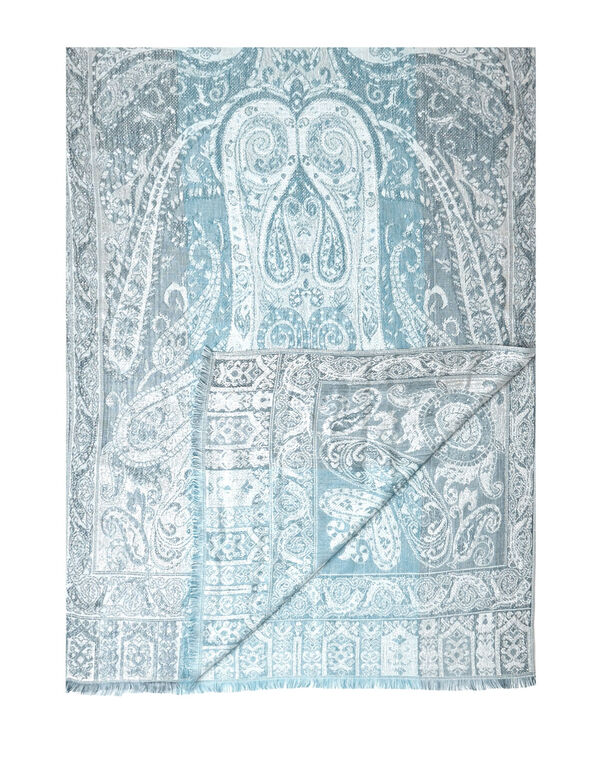 Turquoise Paisley Lurex Scarf, Turquoise, hi-res