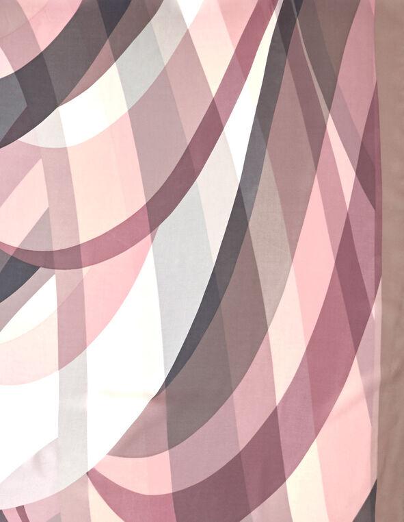 Pink Wave Oblong Scarf, Pink, hi-res