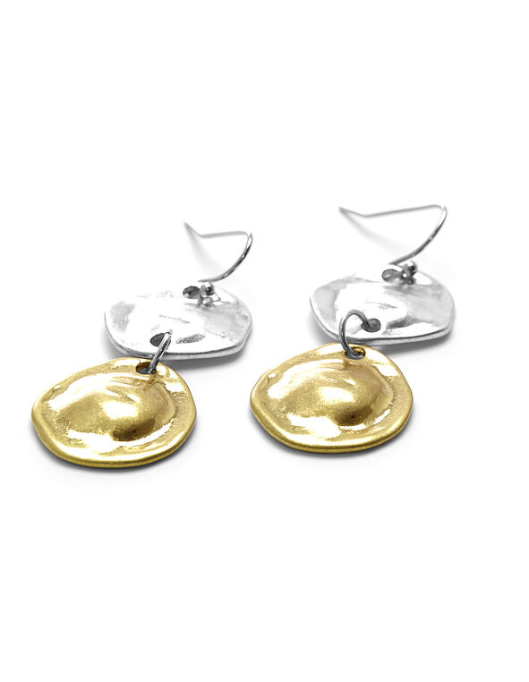 Hammered Metal Earring, Gold/Silver, hi-res