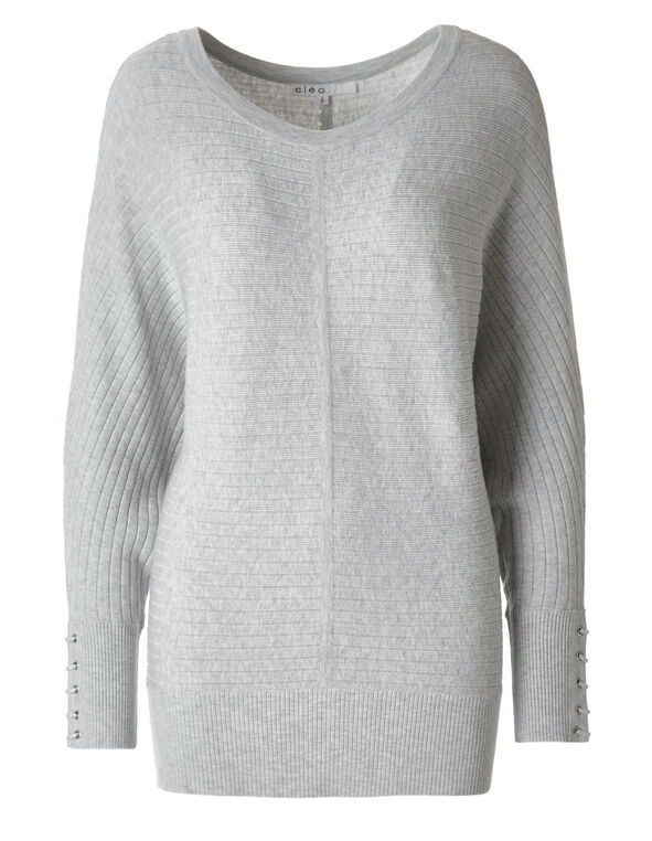 Light Grey Dolman Sweater, Light Grey, hi-res