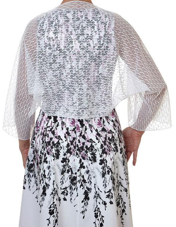White Lace Shawl, White, hi-res