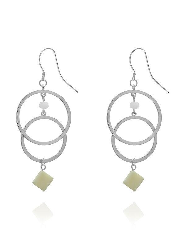 Silver Circular Shell Earring, White, hi-res