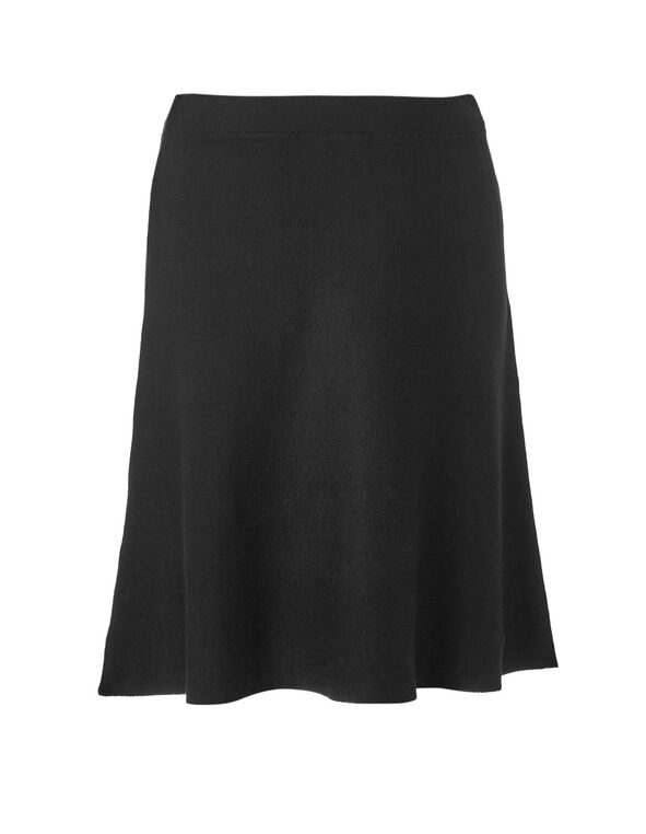 Black Sweater Flippy Skirt, Black, hi-res