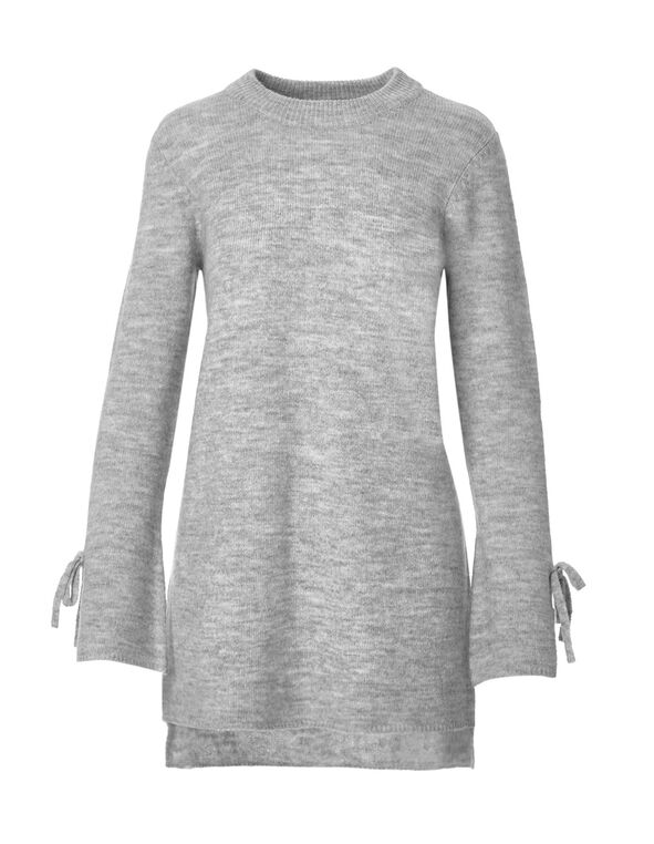 Light Grey Bell Sleeve Sweater, Light Grey Mix, hi-res