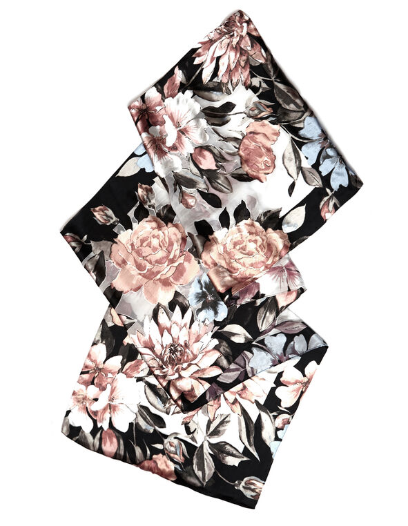 Neutral Floral Silk Burnout Scarf, Neutral, hi-res