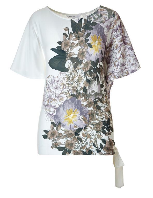 Ivory Floral Side Tie Top, Ivory / Olive / Mauve, hi-res