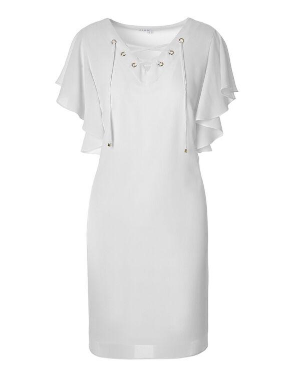 White Flutter Sleeve Dress, White, hi-res
